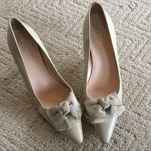 Prada Patent Nude Heels With Bow
